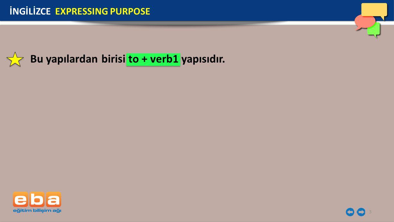Bu yapılardan birisi to + verb1 yapısıdır.