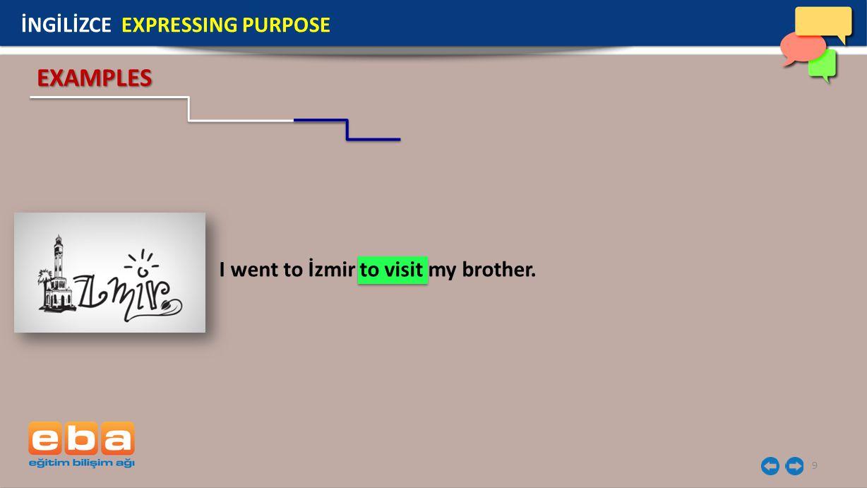 EXAMPLES İNGİLİZCE EXPRESSING PURPOSE