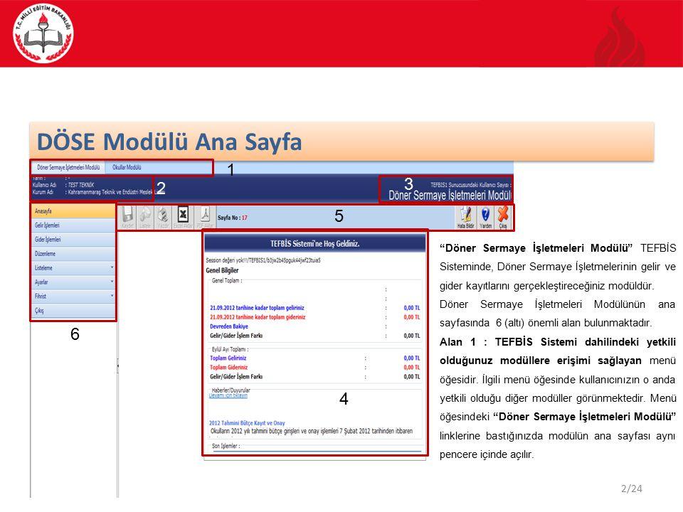 DÖSE Modülü Ana Sayfa 1. 3. 2. 5.