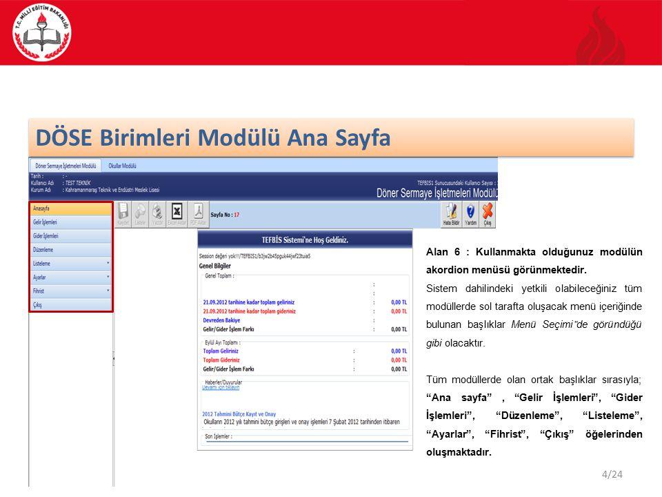 DÖSE Birimleri Modülü Ana Sayfa