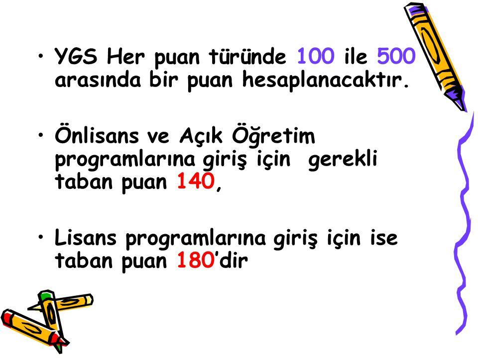 YGS Her puan türünde 100 ile 500 arasında bir puan hesaplanacaktır.