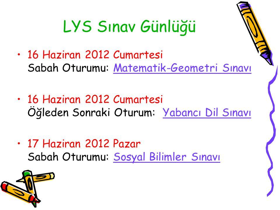 LYS Sınav Günlüğü 16 Haziran 2012 Cumartesi Sabah Oturumu: Matematik-Geometri Sınavı.