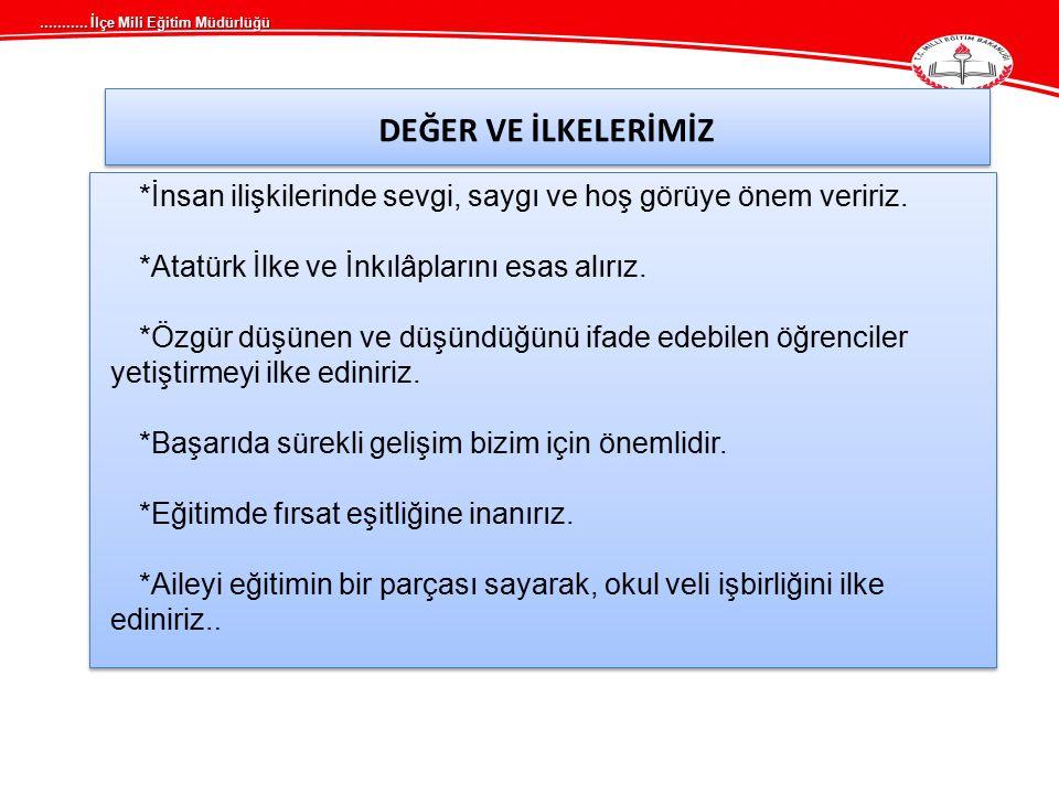 DEĞER VE İLKELERİMİZ *Atatürk İlke ve İnkılâplarını esas alırız.