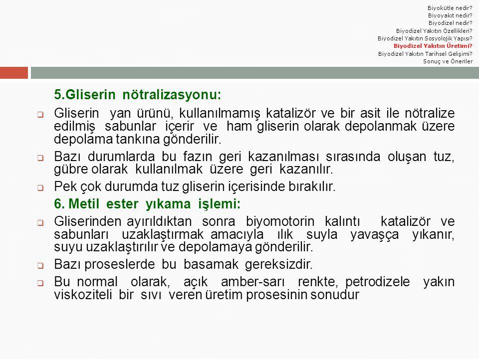 5.Gliserin nötralizasyonu: