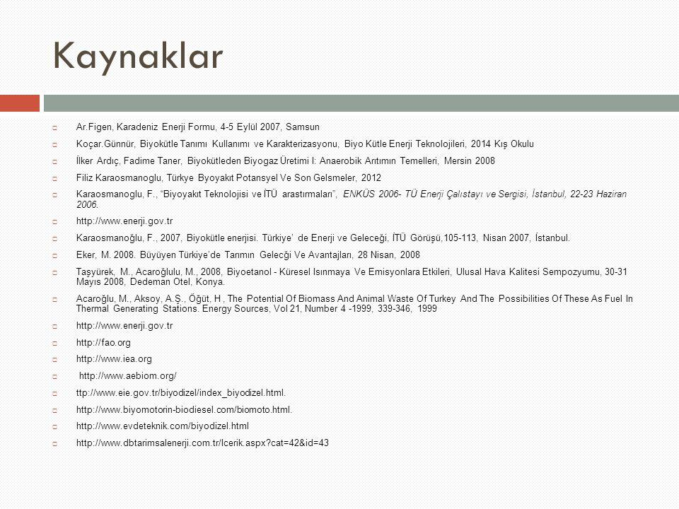 Kaynaklar Ar.Figen, Karadeniz Enerji Formu, 4-5 Eylül 2007, Samsun