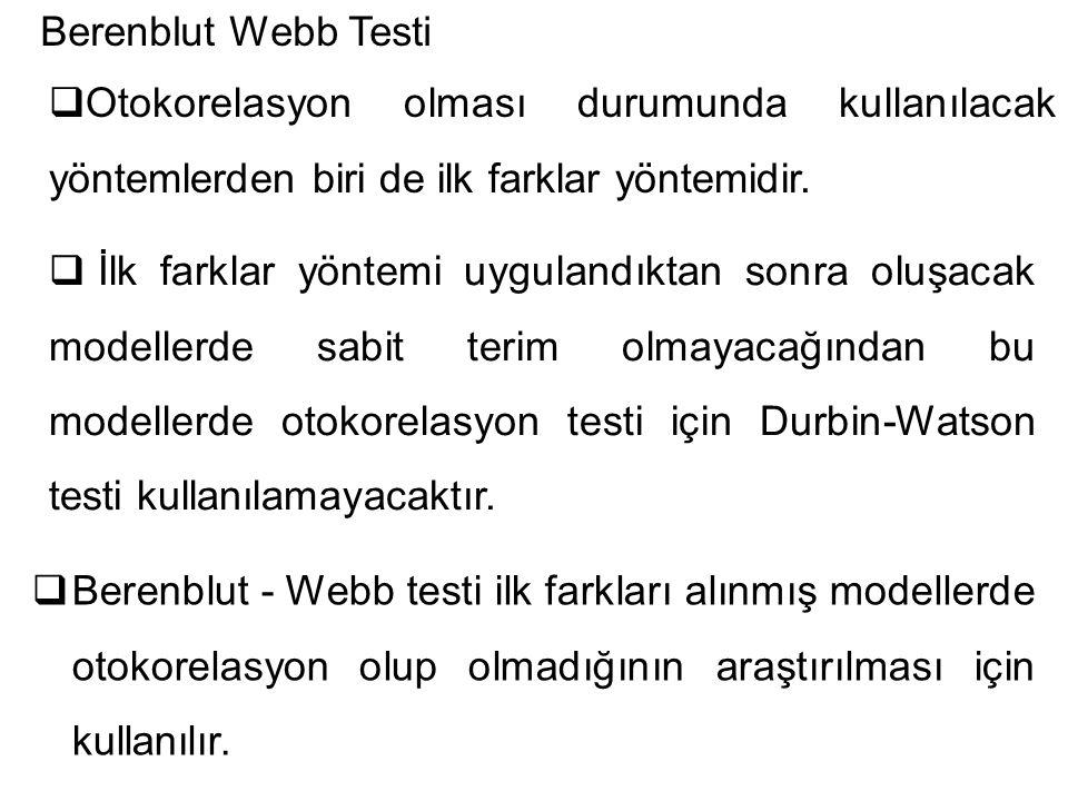 Berenblut Webb Testi Otokorelasyon olması durumunda kullanılacak yöntemlerden biri de ilk farklar yöntemidir.