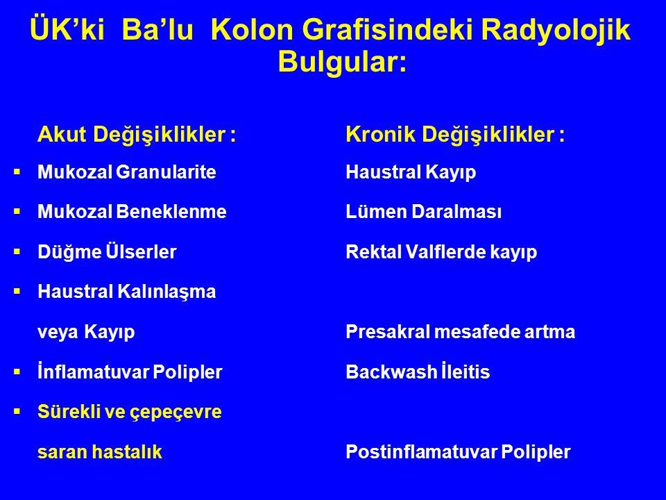 ÜK'ki Ba'lu Kolon Grafisindeki Radyolojik Bulgular: