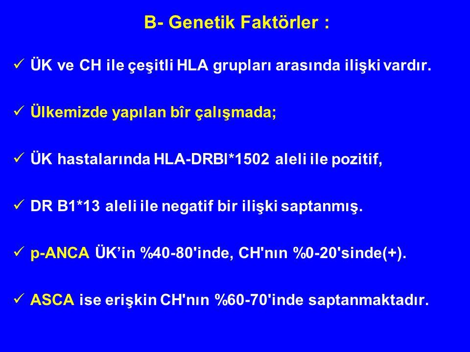 B- Genetik Faktörler : ÜK ve CH ile çeşitli HLA grupları arasında ilişki vardır. Ülkemizde yapılan bîr çalışmada;