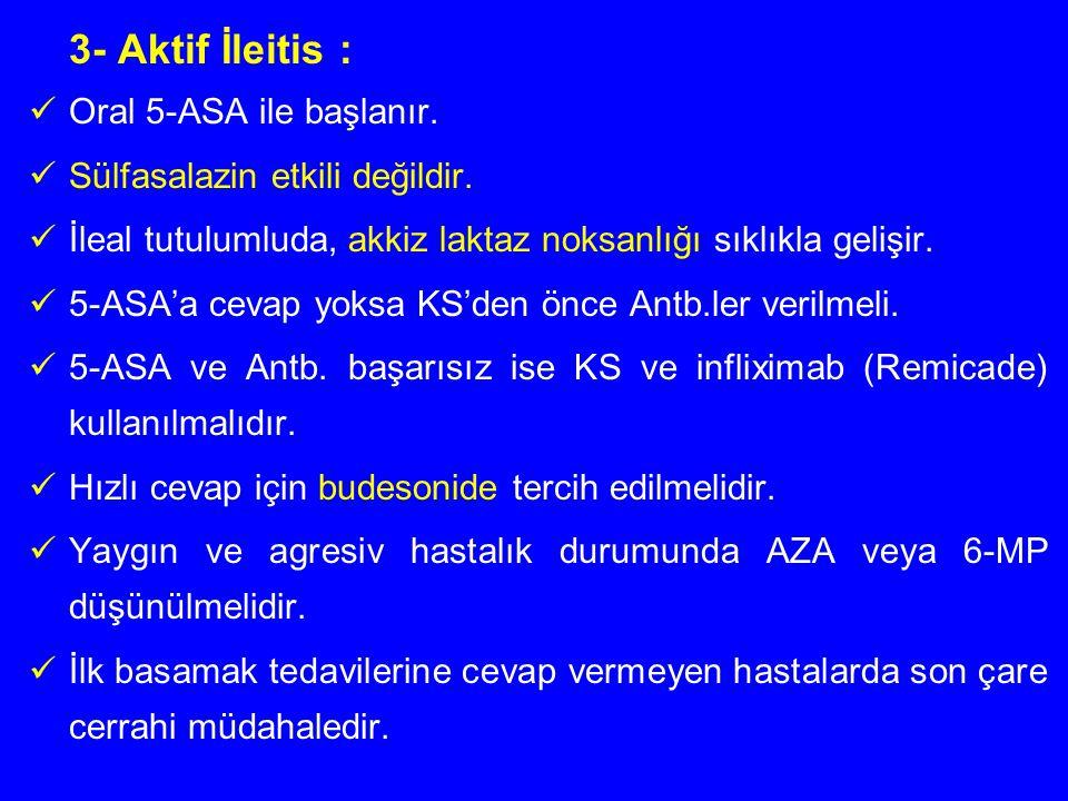 3- Aktif İleitis : Oral 5-ASA ile başlanır.