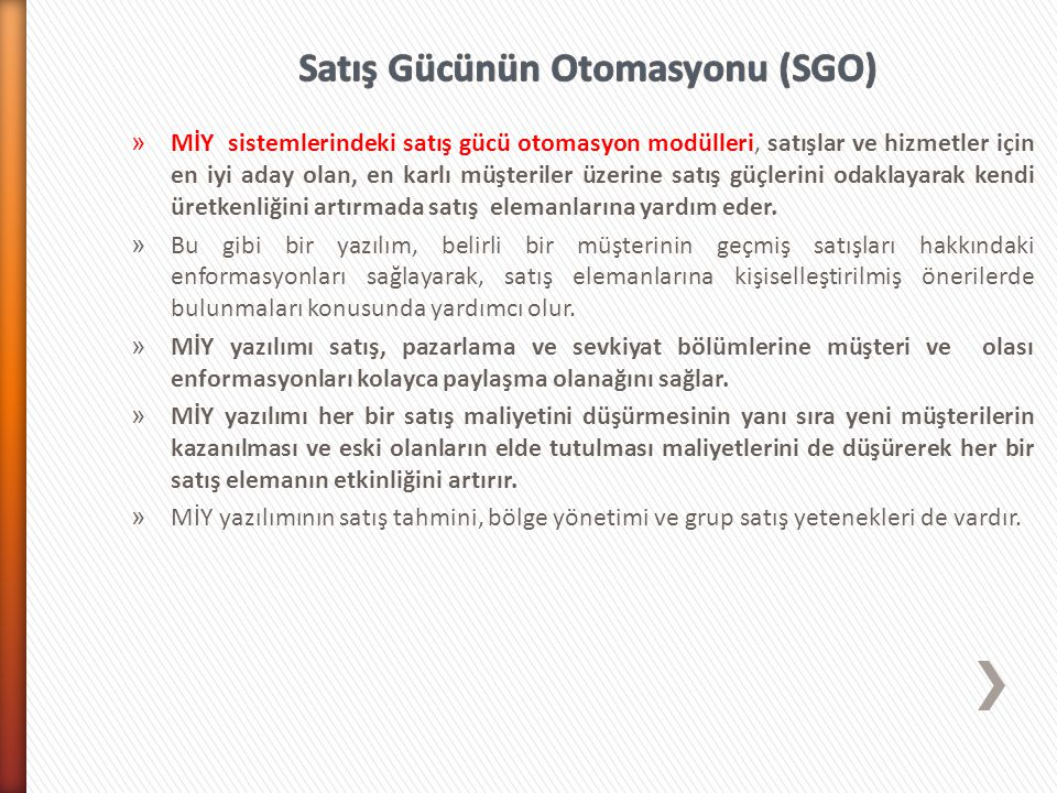 Satış Gücünün Otomasyonu (SGO)