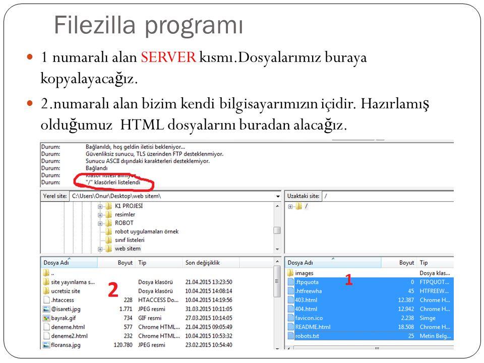 Filezilla programı 1 numaralı alan SERVER kısmı.Dosyalarımız buraya kopyalayacağız.