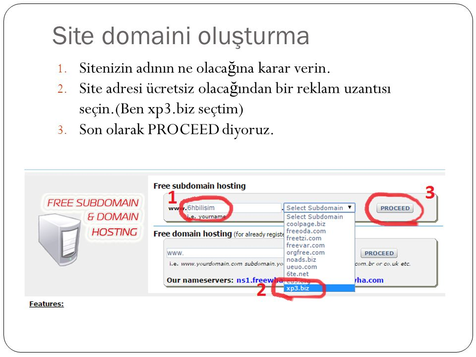 Site domaini oluşturma