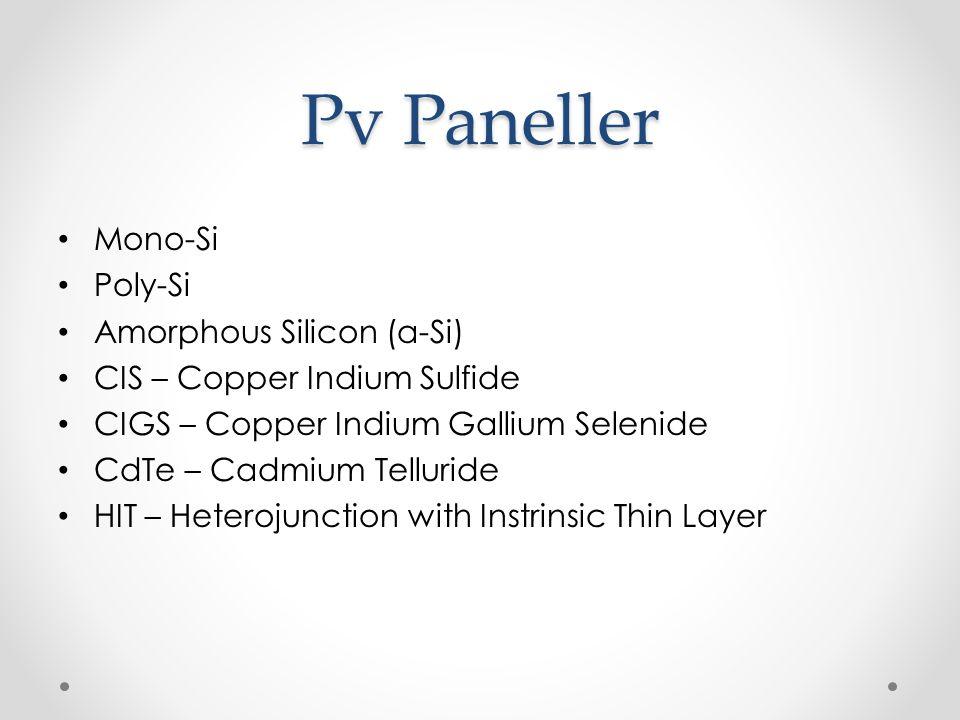 Pv Paneller Mono-Si Poly-Si Amorphous Silicon (a-Si)
