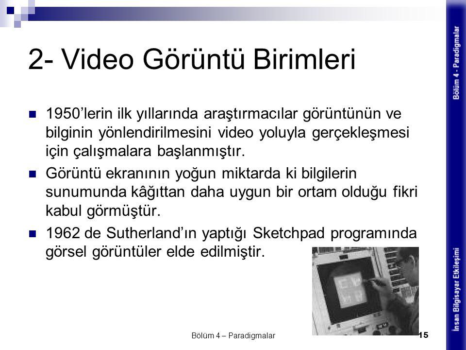 2- Video Görüntü Birimleri