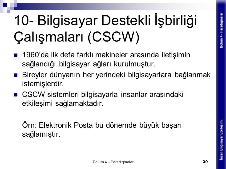 10- Bilgisayar Destekli İşbirliği Çalışmaları (CSCW)