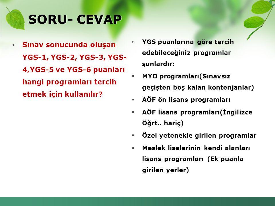 SORU- CEVAP YGS puanlarına göre tercih edebileceğiniz programlar şunlardır: MYO programları(Sınavsız geçişten boş kalan kontenjanlar)