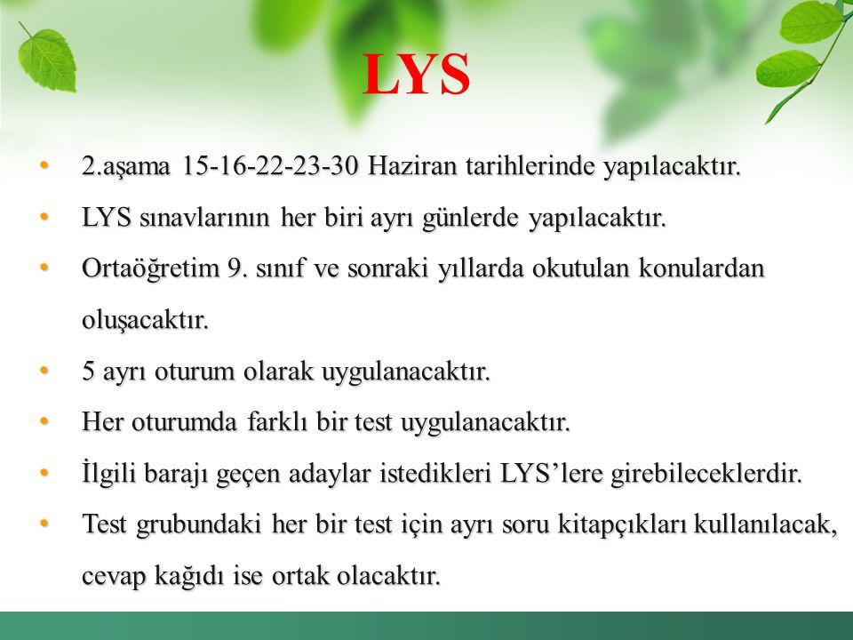 LYS 2.aşama 15-16-22-23-30 Haziran tarihlerinde yapılacaktır.