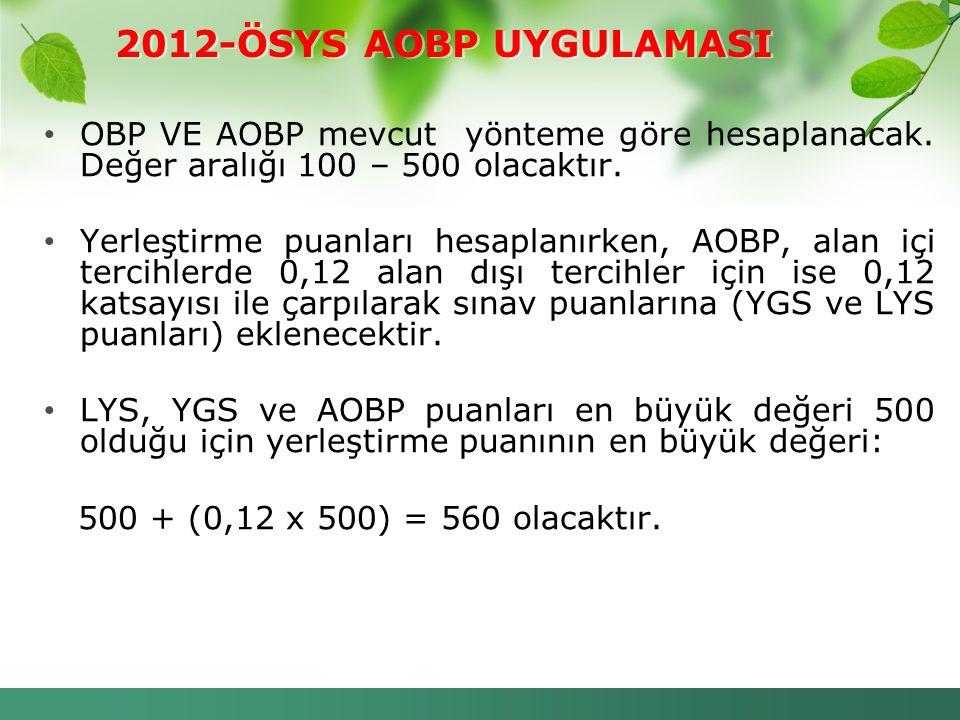 2012-ÖSYS AOBP UYGULAMASI OBP VE AOBP mevcut yönteme göre hesaplanacak. Değer aralığı 100 – 500 olacaktır.