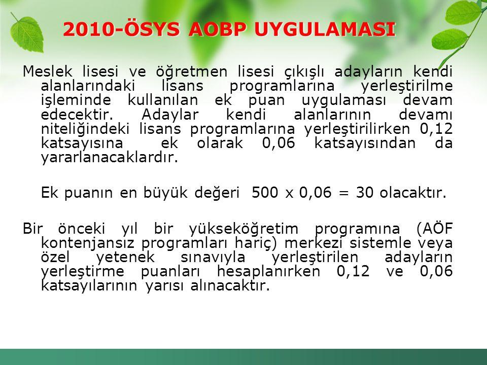 2010-ÖSYS AOBP UYGULAMASI