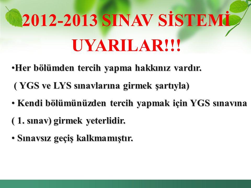 2012-2013 SINAV SİSTEMİ UYARILAR!!!