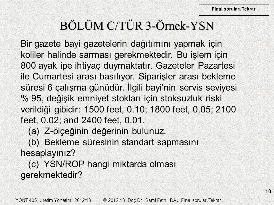 BÖLÜM C/TÜR 3-Örnek-YSN