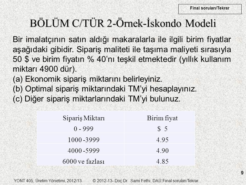 BÖLÜM C/TÜR 2-Örnek-İskondo Modeli