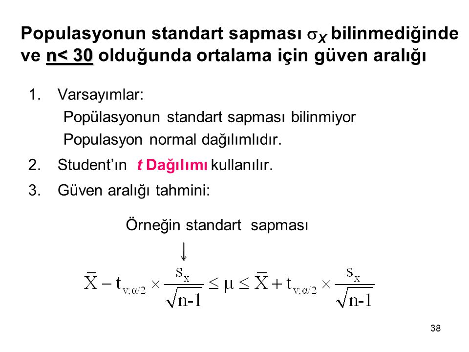 Populasyonun standart sapması X bilinmediğinde ve n< 30 olduğunda ortalama için güven aralığı