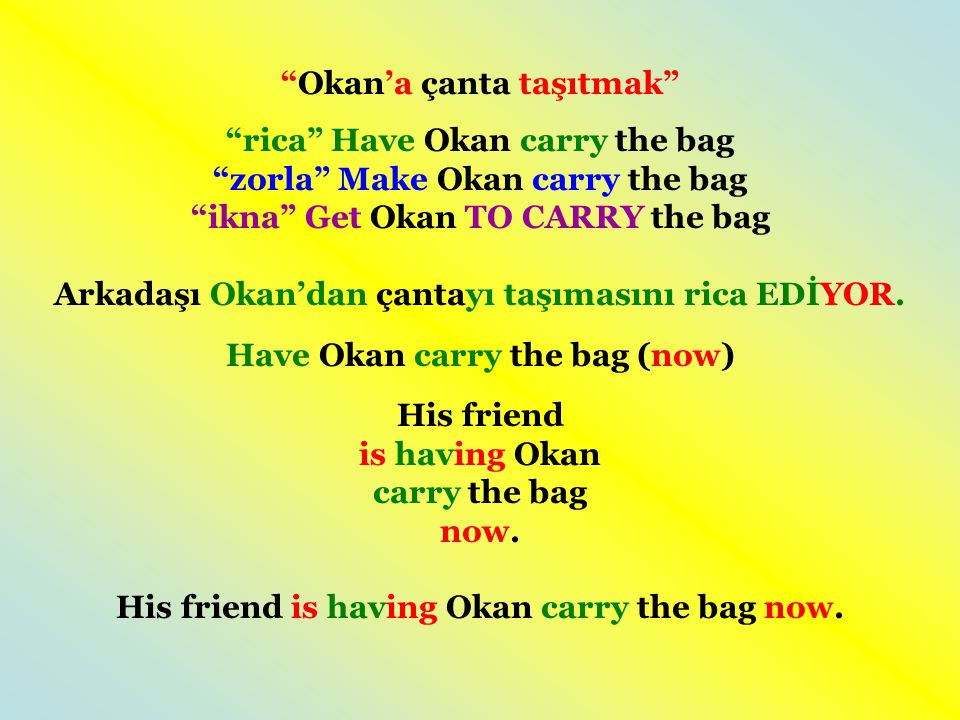 Okan'a çanta taşıtmak rica Have Okan carry the bag