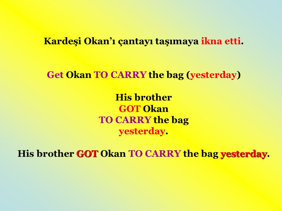 Kardeşi Okan'ı çantayı taşımaya ikna etti.