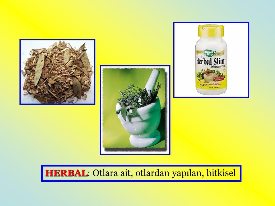 HERBAL: Otlara ait, otlardan yapılan, bitkisel