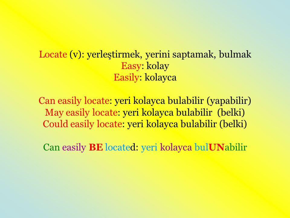Locate (v): yerleştirmek, yerini saptamak, bulmak Easy: kolay