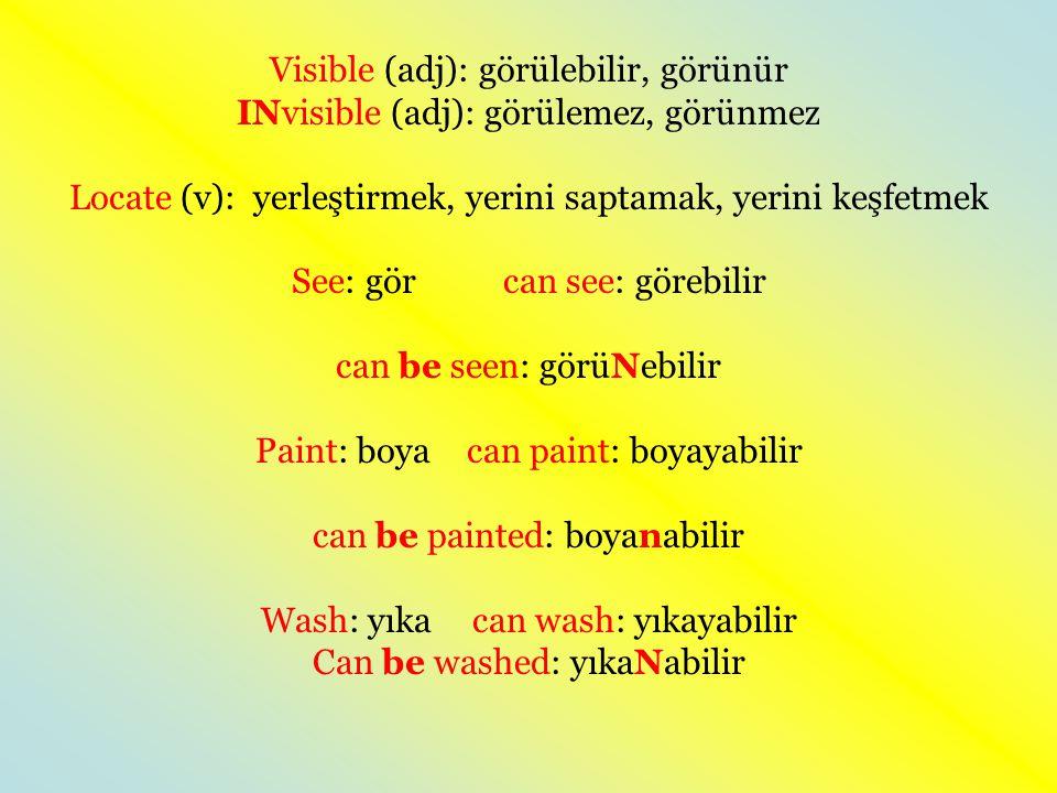 Visible (adj): görülebilir, görünür