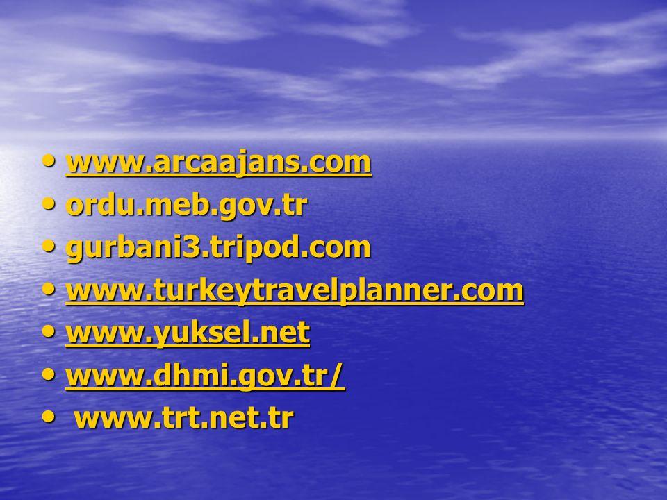 www.arcaajans.com ordu.meb.gov.tr. gurbani3.tripod.com. www.turkeytravelplanner.com. www.yuksel.net.