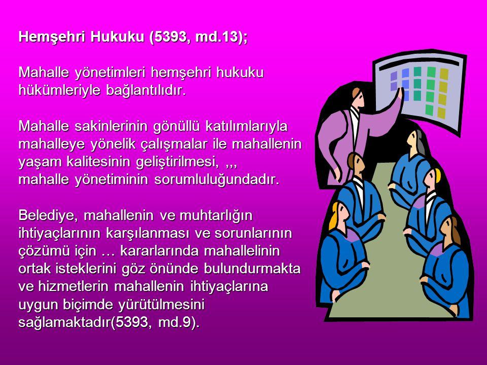 Hemşehri Hukuku (5393, md.13); Mahalle yönetimleri hemşehri hukuku hükümleriyle bağlantılıdır.