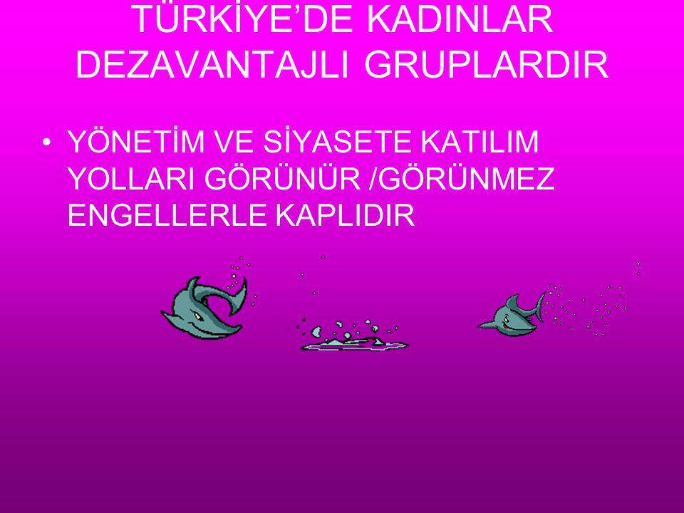 TÜRKİYE'DE KADINLAR DEZAVANTAJLI GRUPLARDIR