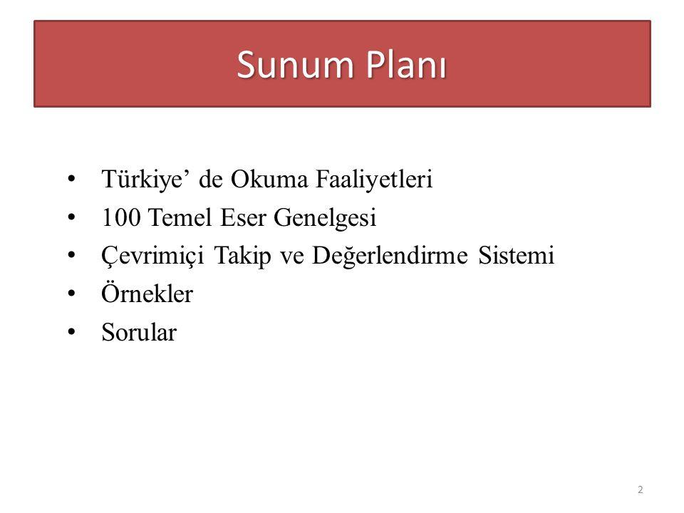 Sunum Planı Türkiye' de Okuma Faaliyetleri 100 Temel Eser Genelgesi