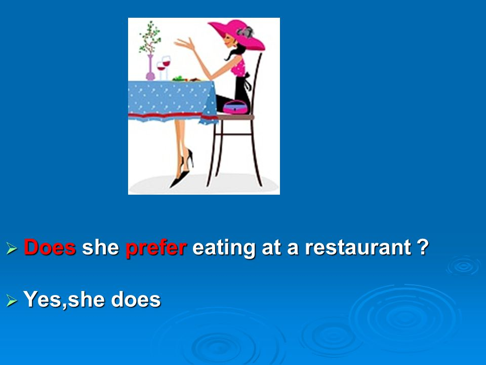 Does she prefer eating at a restaurant
