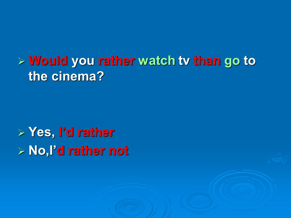 Would you rather watch tv than go to the cinema