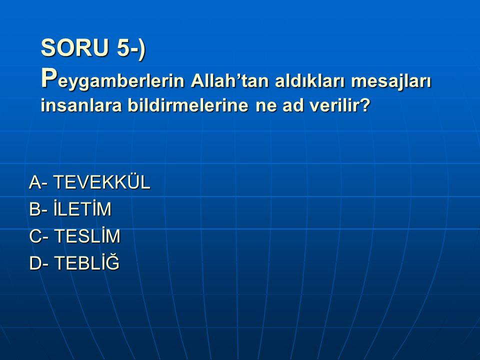SORU 5-) Peygamberlerin Allah'tan aldıkları mesajları insanlara bildirmelerine ne ad verilir