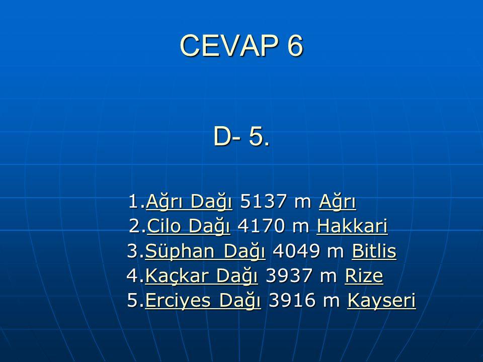 CEVAP 6 D- 5. 1.Ağrı Dağı 5137 m Ağrı 2.Cilo Dağı 4170 m Hakkari