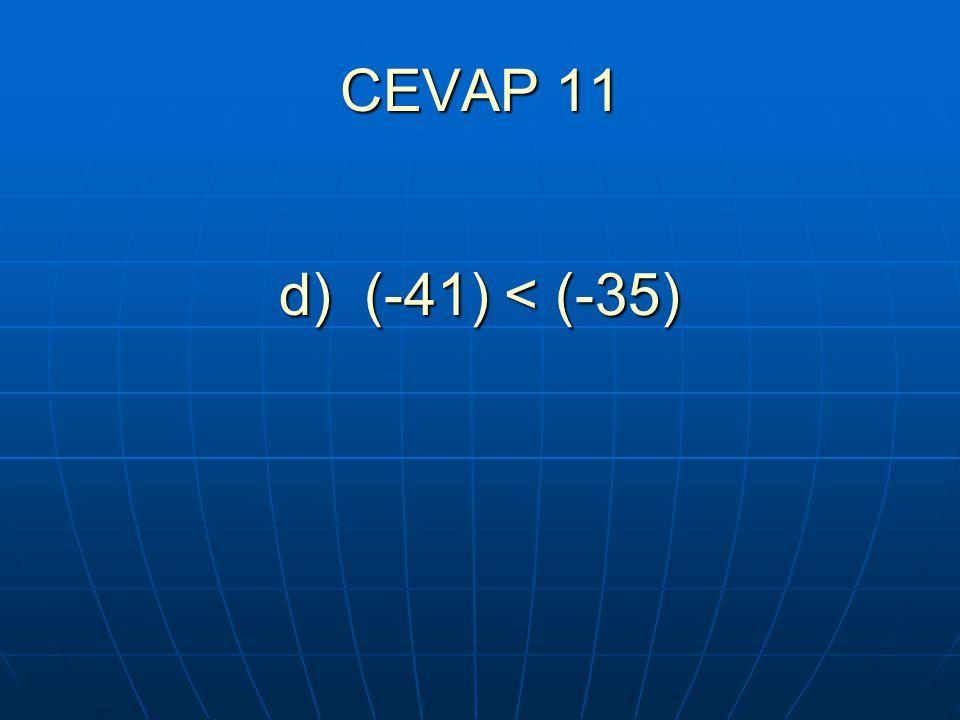 CEVAP 11 d) (-41) < (-35)