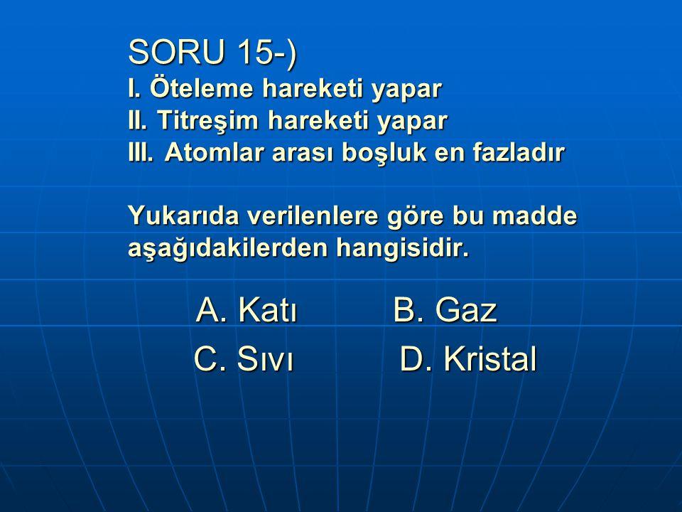 SORU 15-) I. Öteleme hareketi yapar II. Titreşim hareketi yapar III