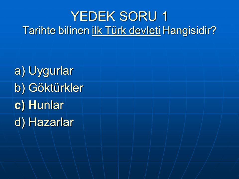 YEDEK SORU 1 Tarihte bilinen ilk Türk devleti Hangisidir