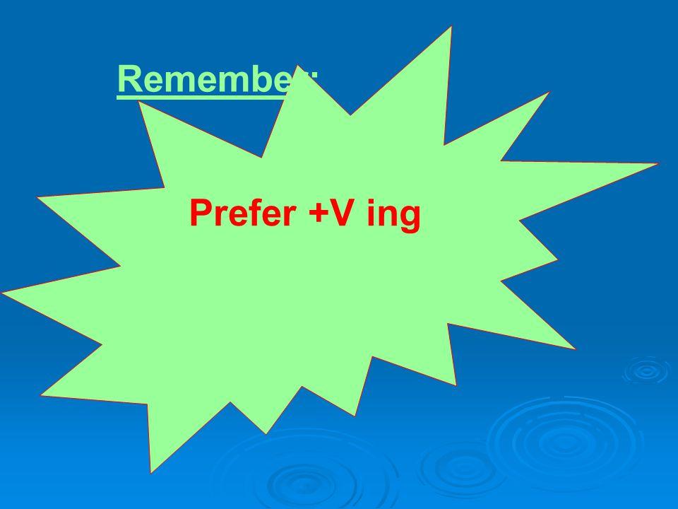 Prefer +V ing Remember: