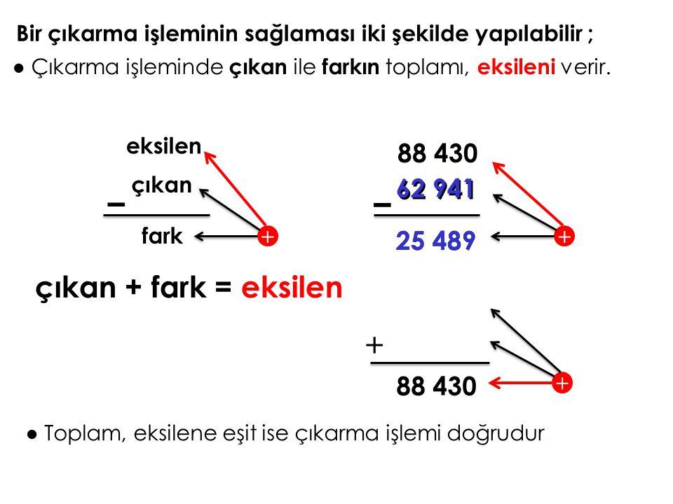 – – + çıkan + fark = eksilen 88 430 62 941 62 941 25 489 25 489 88 430