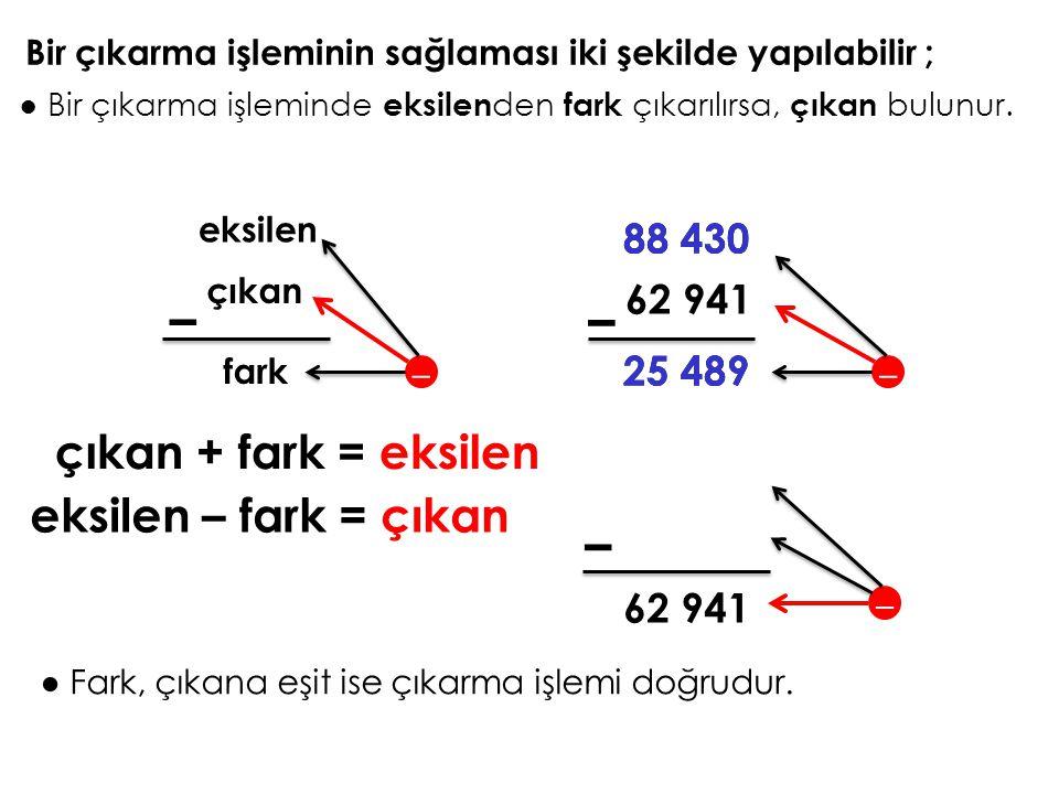 – – – çıkan + fark = eksilen eksilen – fark = çıkan 88 430 88 430