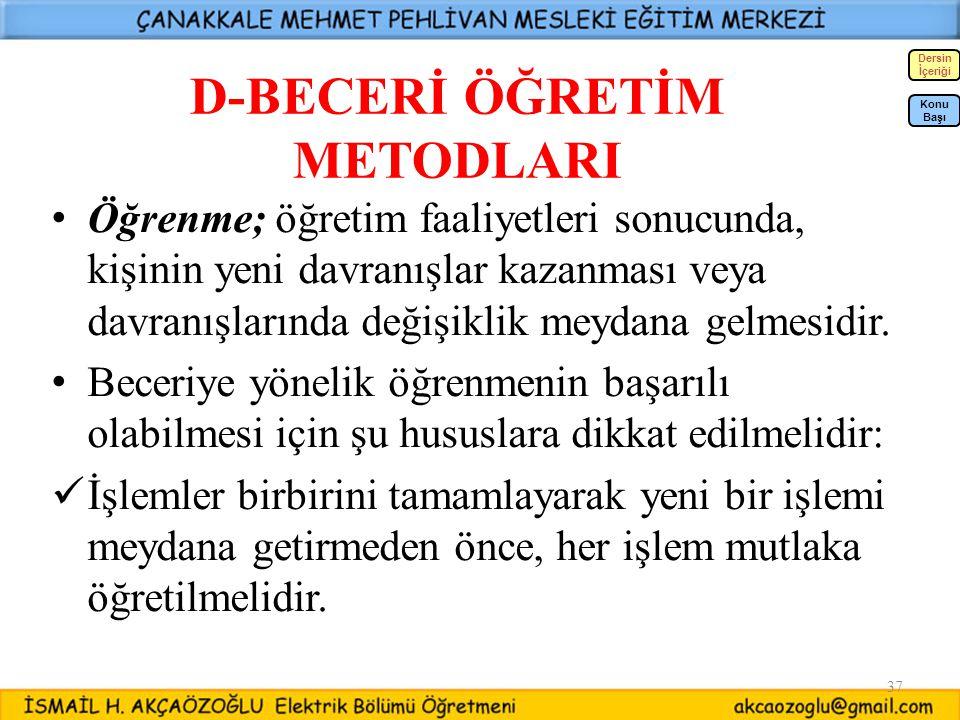 D-BECERİ ÖĞRETİM METODLARI