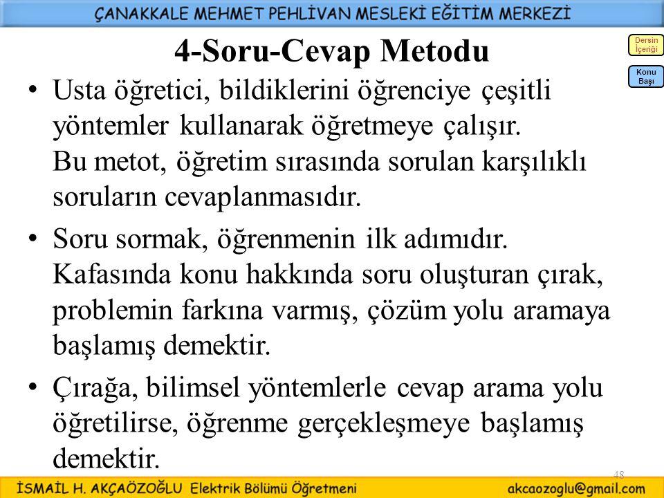 4-Soru-Cevap Metodu Dersin. İçeriği.