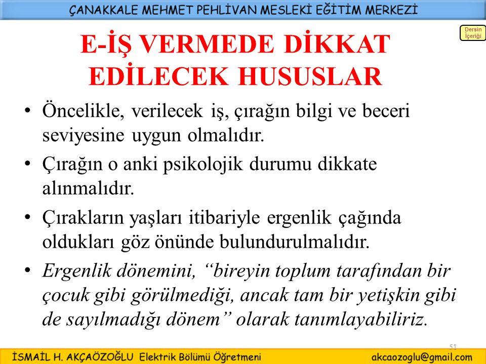 E-İŞ VERMEDE DİKKAT EDİLECEK HUSUSLAR