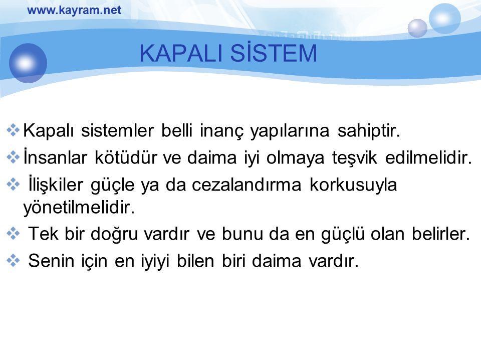 KAPALI SİSTEM Kapalı sistemler belli inanç yapılarına sahiptir.